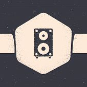 Grunge Stereo Speaker Icon Isolated On Grey Background. Sound System Speakers. Music Icon. Musical C poster