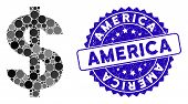 Mosaic Dollar Symbol Icon And Rubber Stamp Watermark With America Text. Mosaic Vector Is Created Wit poster