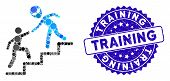 Collage Alien Training Help Icon And Distressed Stamp Seal With Training Text. Mosaic Vector Is Comp poster