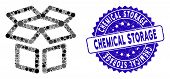 Mosaic Box Icon And Rubber Stamp Watermark With Chemical Storage Phrase. Mosaic Vector Is Created Wi poster