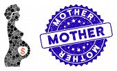 Mosaic Surrogate Mother Icon And Grunge Stamp Seal With Mother Text. Mosaic Vector Is Designed With  poster