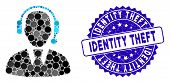 Mosaic Call Center Manager Icon And Distressed Stamp Watermark With Identity Theft Text. Mosaic Vect poster