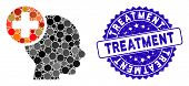 Mosaic Head Treatment Icon And Rubber Stamp Seal With Treatment Text. Mosaic Vector Is Formed From H poster