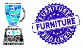 Mosaic Kitchen Mixer Icon And Rubber Stamp Seal With Furniture Text. Mosaic Vector Is Created With K poster