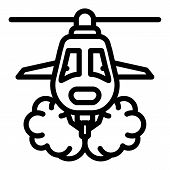 Wildfire Helicopter Icon. Outline Wildfire Helicopter Vector Icon For Web Design Isolated On White B poster
