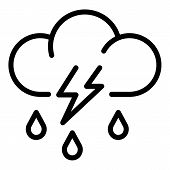 Storm Rainy Cloud Icon. Outline Storm Rainy Cloud Vector Icon For Web Design Isolated On White Backg poster