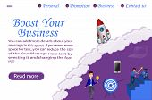Boost Your Business Landing Page Vector Template. ,can Use For Web Banner, Info Graphics, Landing Pa poster