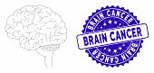 Mosaic Brain Icon And Rubber Stamp Watermark With Brain Cancer Phrase. Mosaic Vector Is Designed Wit poster