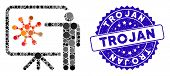 Mosaic Virus Report Icon And Grunge Stamp Seal With Trojan Phrase. Mosaic Vector Is Created With Vir poster
