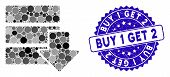 Mosaic Download Database Icon And Corroded Stamp Seal With Buy 1 Get 2 Phrase. Mosaic Vector Is Form poster
