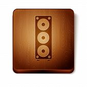 Brown Stereo Speaker Icon Isolated On White Background. Sound System Speakers. Music Icon. Musical C poster