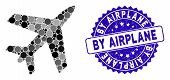 Mosaic Airplane Icon And Distressed Stamp Seal With By Airplane Phrase. Mosaic Vector Is Designed Wi poster