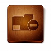 Brown Document Folder With Minus Icon Isolated On White Background. Clear Document. Remove File Docu poster
