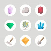 Geology Colored Icons Set For Science, School, University. Flat Style. Geological Hammer, Shovel, Gl poster
