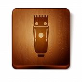 Brown Electrical Hair Clipper Or Shaver Icon Isolated On White Background. Barbershop Symbol. Wooden poster