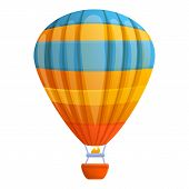 Flight Air Balloon Icon. Cartoon Of Flight Air Balloon Vector Icon For Web Design Isolated On White  poster