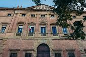 Appeals Court Located In Historic Ranuzzi Palace Also Called Baciocchi Palace In Bologna City, Italy poster