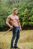 Sport. Bodybuilder Show His Muscles. Power And Strength. Lumberjack Carry Axe. Man Strong Body. Musc poster
