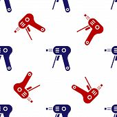 Blue And Red Electric Hot Glue Gun Icon Isolated Seamless Pattern On White Background. Hot Pistol Gl poster