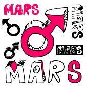 stock photo of ares  - doodle Mars symbol isolated on white background - JPG