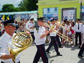 SUMY - JUNE 28: Military brass band performing at celebration of the Constitution of Ukraine on June