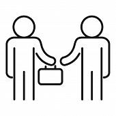 Money Case Cooperation Icon. Outline Money Case Cooperation Vector Icon For Web Design Isolated On W poster