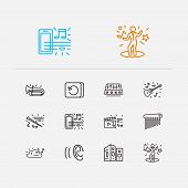 Musical Icons Set. Guitar And Musical Icons With Cloud Music, Night Club And Music On Phone. Set Of  poster