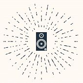 Grey Stereo Speaker Icon Isolated On Beige Background. Sound System Speakers. Music Icon. Musical Co poster