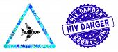 Mosaic Airplane Danger Icon And Grunge Stamp Seal With Hiv Danger Caption. Mosaic Vector Is Formed W poster