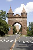 stock photo of brownstone  - The brownstone Soldiers and Sailors Memorial Arch found in Hartford Connecticut  - JPG