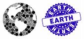 Mosaic Earth Icon And Rubber Stamp Seal With Earth Text. Mosaic Vector Is Composed With Earth Icon A poster