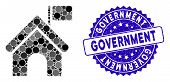 Mosaic Government Building With Flag Icon And Distressed Stamp Seal With Government Text. Mosaic Vec poster