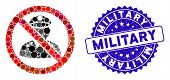 Mosaic No Military Officer Icon And Corroded Stamp Seal With Military Text. Mosaic Vector Is Formed  poster