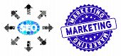 Mosaic Seo Marketing Icon And Rubber Stamp Seal With Marketing Caption. Mosaic Vector Is Created Wit poster