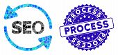 Mosaic Seo Process Icon And Rubber Stamp Seal With Process Phrase. Mosaic Vector Is Formed With Seo  poster