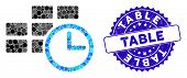 Collage Time Table Icon And Rubber Stamp Seal With Table Text. Mosaic Vector Is Composed With Time T poster