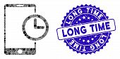 Mosaic Smartphone Time Icon And Rubber Stamp Seal With Long Time Caption. Mosaic Vector Is Formed Wi poster