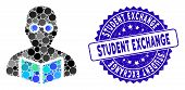 Mosaic Student Icon And Rubber Stamp Seal With Student Exchange Phrase. Mosaic Vector Is Created Wit poster