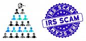 Mosaic Ponzi Pyramid Manager Icon And Grunge Stamp Seal With Irs Scam Text. Mosaic Vector Is Designe poster