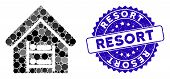 Mosaic Hostel Icon And Rubber Stamp Watermark With Resort Phrase. Mosaic Vector Is Formed From Hoste poster
