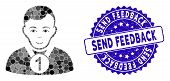 Mosaic Champion Icon And Rubber Stamp Seal With Send Feedback Phrase. Mosaic Vector Is Formed With C poster