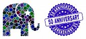 Mosaic Elephant Icon And Grunge Stamp Watermark With 50 Anniversary Text. Mosaic Vector Is Formed Wi poster