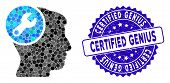 Mosaic Head Wrench Repair Icon And Rubber Stamp Watermark With Certified Genius Text. Mosaic Vector  poster