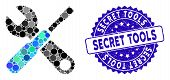 Mosaic Tools Icon And Corroded Stamp Watermark With Secret Tools Text. Mosaic Vector Is Formed With  poster