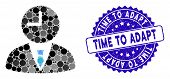 Mosaic Time Manager Icon And Distressed Stamp Seal With Time To Adapt Caption. Mosaic Vector Is Comp poster