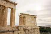 Ancient Temple Of Athena Nike In Greek Athens In Overcast Weather poster