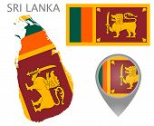Colorful Flag, Map Pointer And Map Of Sri Lanka In The Colors Of The Sri Lankan Flag. High Detail. V poster