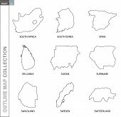 Outline Map Collection, Nine Black Lined Vector Map Of South Africa, South Korea, Spain, Sri Lanka,  poster