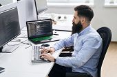 Computer Programmer Developer Working In It Office, Sitting At Desk And Coding, Working On A Project poster