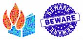 Mosaic Burned File Icon And Rubber Stamp Seal With Beware Text. Mosaic Vector Is Designed With Burne poster